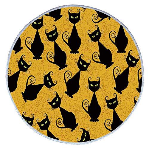 YOLIYANA Vintage Decor Comfortable Round Pet Rug,Black Cat Pattern on Orange Background Halloween Witch Pet Graphic Decorative for Pet,Diameter 31 Inches]()