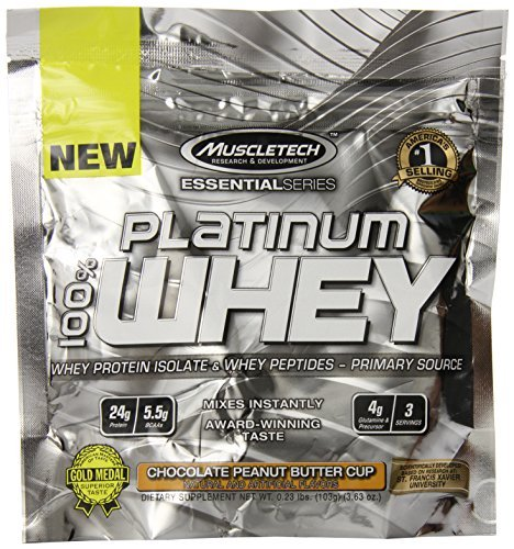 MuscleTech Platinum 100% Whey Protein Powder, Chocolate Peanut Butter Cup, 3 Servings by Muscletech Essential Series