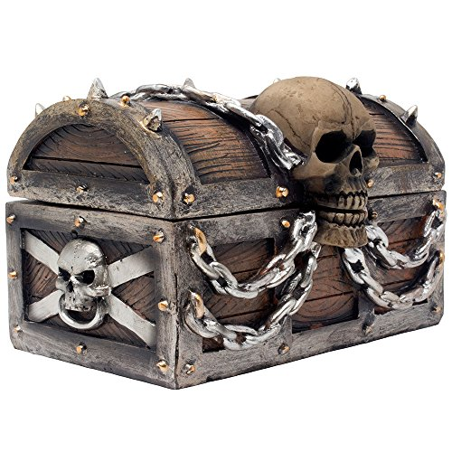 Evil Skull on Treasure Chest Trinket Box Statue with Hidden Storage Compartment for Decorative Gothic Décor or Spooky Halloween Decorations As Jewelry Boxes or Fantasy Office Gifts -