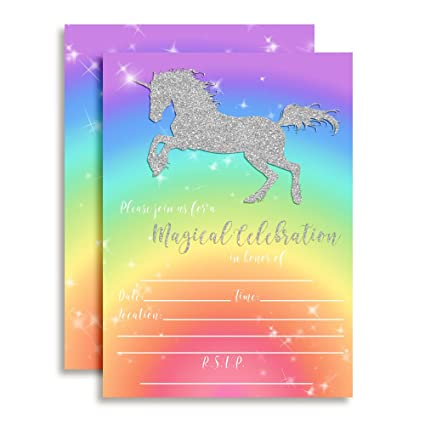 Rainbow Glitter Unicorn Birthday Party Invitations For Girls 20 5quotx7quot Fill In