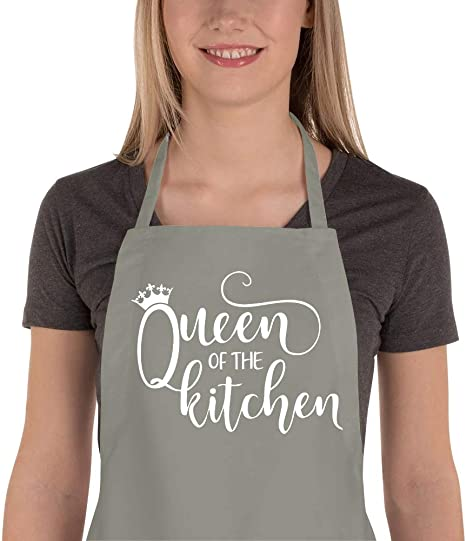 Queen Of The Kitchen Apron Any Name Here Great Gift Funny Personalised BBQ