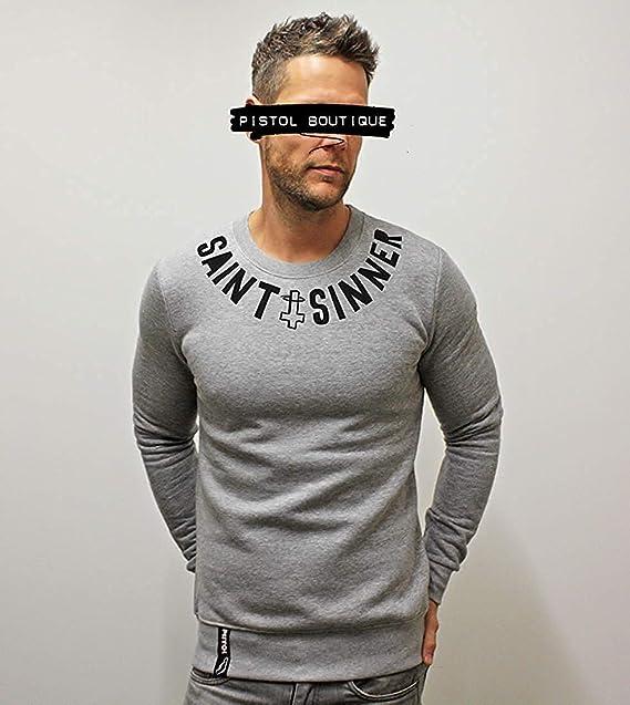 Pistol Boutique mens Grey SAINT /& SINNER neck Print casual Classic sweatshirt