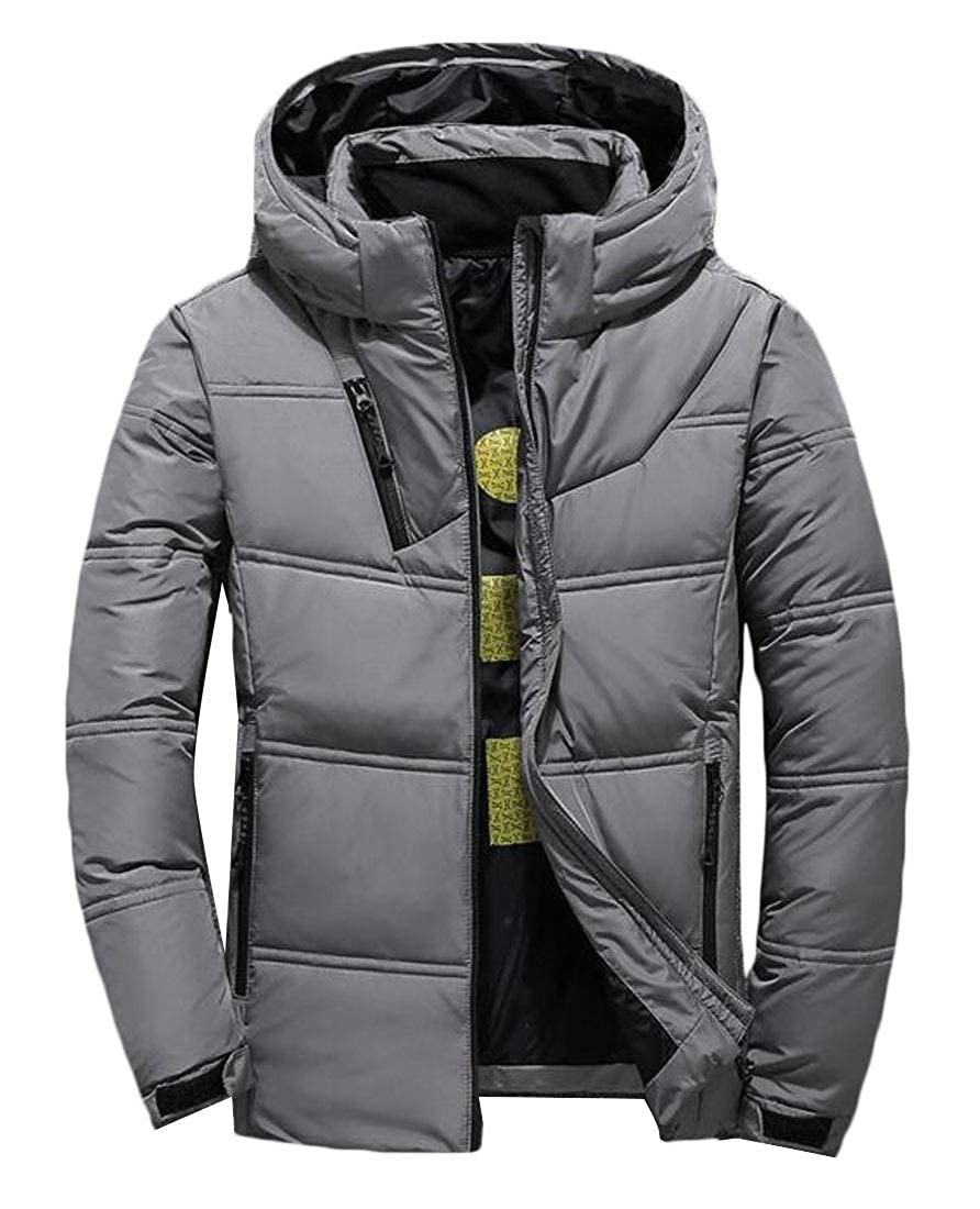 Beloved Men Winter Hooded Down Jacket Full Zip Quilted Puffer Down Jackets