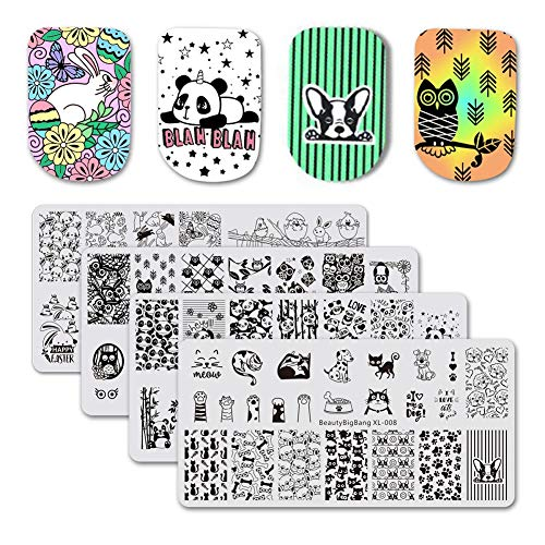 BEAUTYBIGBANG 4Pcs Nail Stamping Plate Animals Theme - Dogs Cats Panda Rabbit Owl Image Plates Nail Art Design Stamping Kit Manicure Template Set