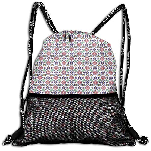 (Drawstring Backpack bags, Traditional Middle Eastern Pattern With Floral Elements Timeless Arabesque Motifs)