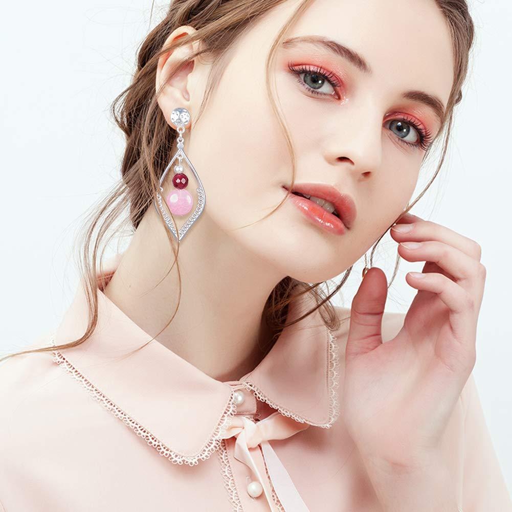 SUNNYCLUE 925 Sterling Silver Plated Leaf Gemstone Dangle Drop Stud Earrings for Women Girls Nickel Free