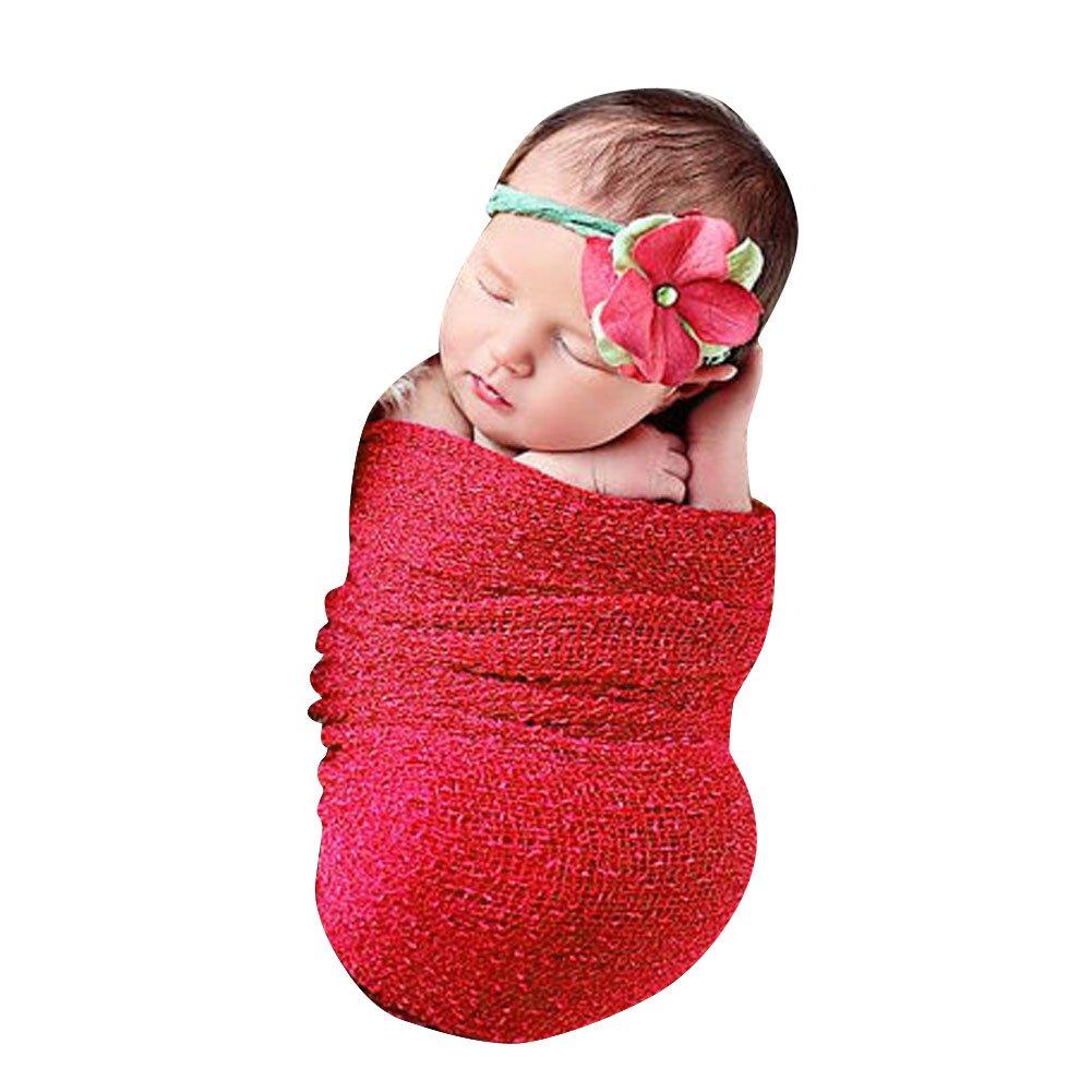 Newborn Photography Prop Blanket, amazingdeal Baby Infant Boys Girls Cotton Linen Swaddle Wrap (1#)