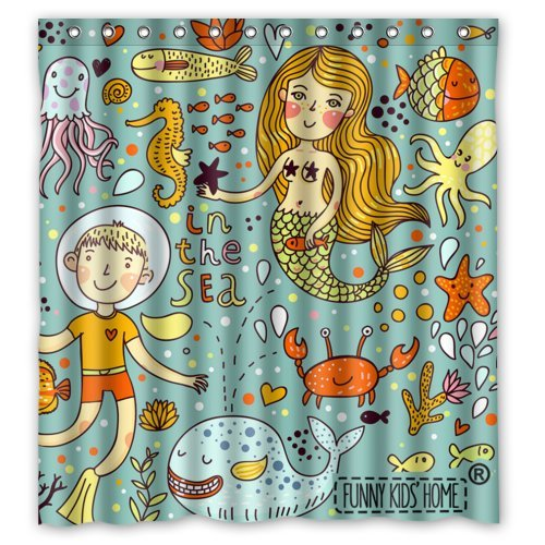 Cartoon Mermaid And Boy Crab Fishes In The Sea Shower Curtain For Kids Children
