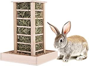 Less Wasted Hay Feeder Wooden Food Feeding Rack for Rabbits Guinea Pigs Chinchilla Hamster - Pet-self Stand Feeding Manager for Small Animals - Natural Wooden Made Without Glue and Nails