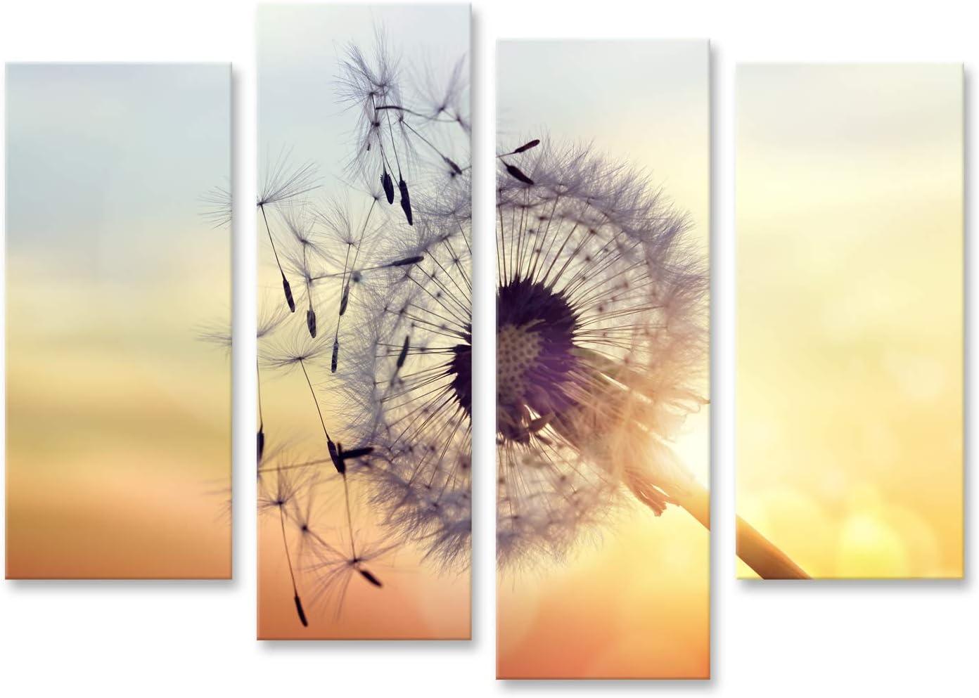 Cuadro Cuadros Silueta de Diente de león contra la Puesta de Sol con Semillas soplando al Viento Impresión Lienzo Formato Grande Cuadros Modernos Run
