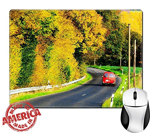 "Luxlady Natural Rubber Mouse Pad/Mat with Stitched Edges 9.8"" x 7.9"" IMAGE ID: 23130229 Autumn on the - Of Pictures Guardrails"