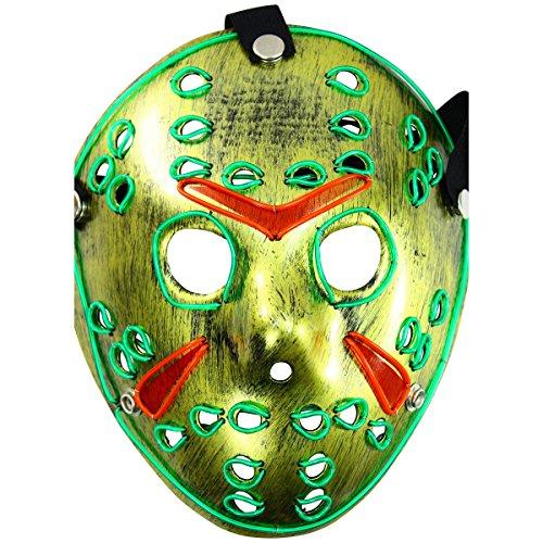 Rolling Lit LED Jason Light Up Scary Ski Hockey Mask (Scary Jason Mask)