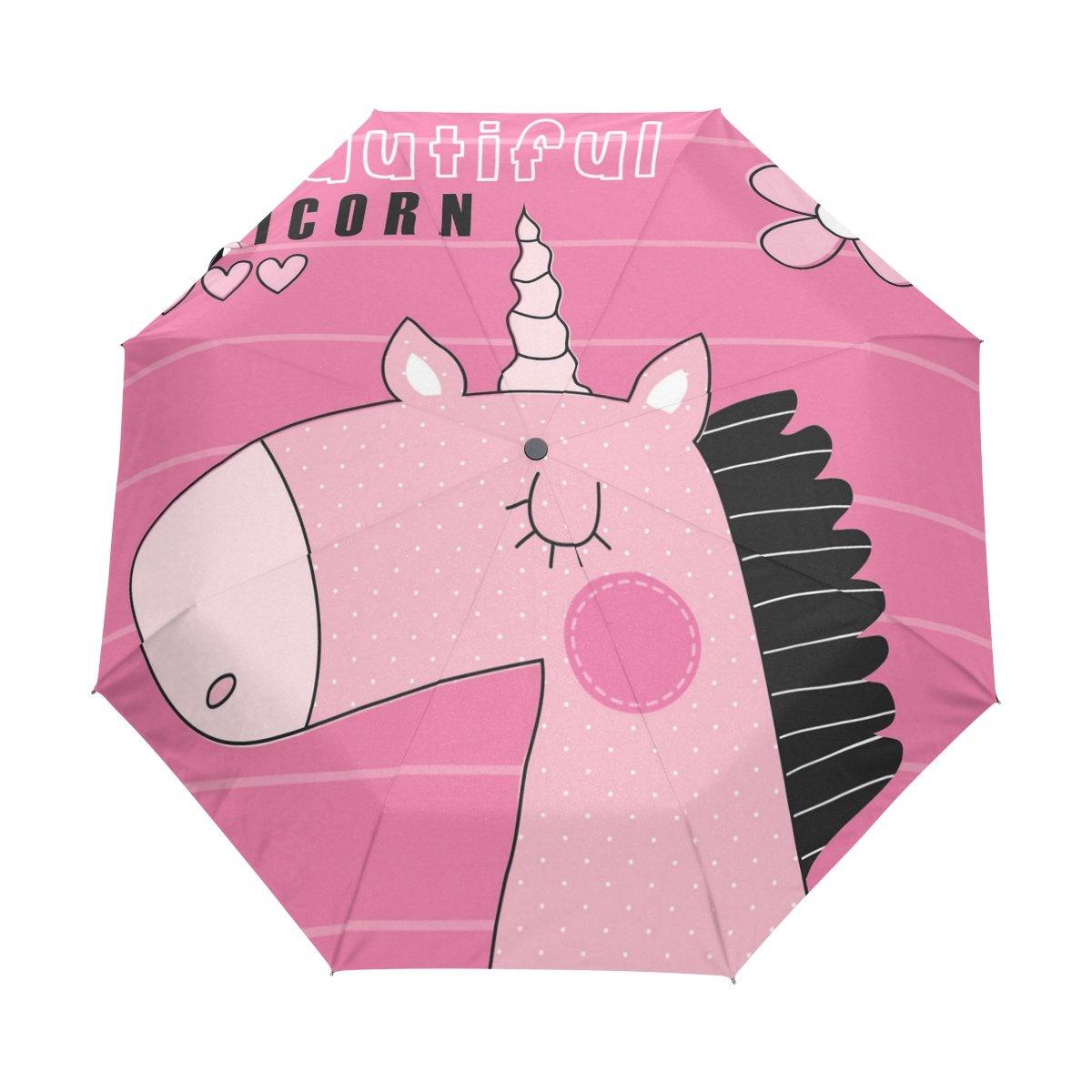 Senya Saobao防風と防雨トラベル傘with自動開いて閉じFolding美しいユニコーンベクトル図ポータブル折りたたみ式太陽雨傘 B07FDY8H6M