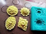 Anyana Rosettes round flower Vintage medallion Buttons Candy Silicone Mold for Sugarcraft, Cake Decoration, Cupcake Topper, Fondant, Jewelry, Polymer Clay, Crafting Projects, Non stick easy to use