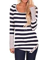 Ulamra Streifen Splice U-Ausschnitt Lang Langarm Bluse T Shirt Slim Fit