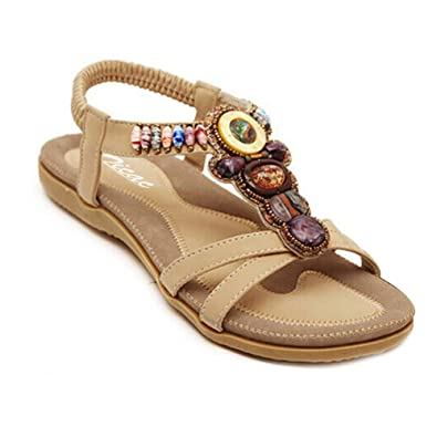 3a22bb06e56 Women s Round Peep Toe Bead Elastic T-Strap Bohemia Roman Sandals Summer  Beach Post Sandals