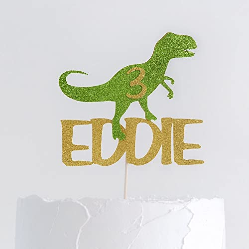 Dinosaur Birthday Name And Age Cake Topper T Rex Decoration Party Amazoncouk Handmade