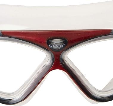SEAC Vision HD Rosso Occhialini a Mascherina da Nuoto in Piscina e in Mare Unisex Adulto Taglia Unica