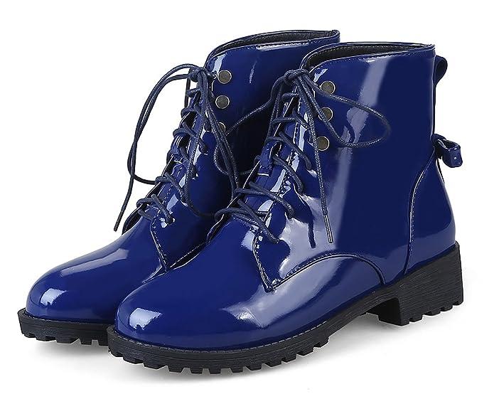 SHOWHOW Damen Schleife Schnürung Halbschaft Stiefel mit Absatz Schwarz 34 EU xED0PY6Kl