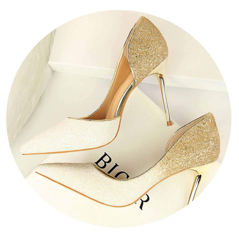 White 9cm Glitter High Heels Sequins Scarpins Pumps Silver gold Escarpins Scarpins Talons shoes