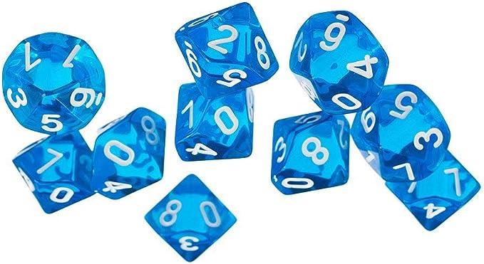 Ogquaton Dados de Juegos Dados de Joya de Diez Lados para Juegos de Dragones de calabozos Juego de 10 Dados (Azul): Amazon.es: Hogar