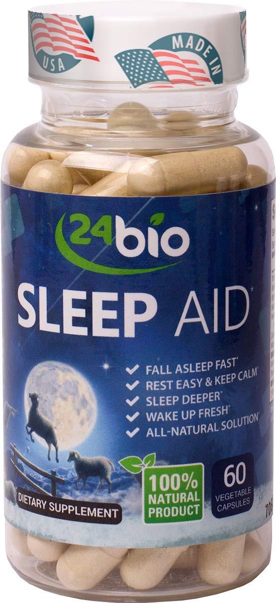24bio Natural Sleep Aid | 1# on Amazon Valerian 200mg Supplement | Fall Asleep Faster, Wake Up Refreshed | Non Habit Forming Sleeping Pills, Passion Flower, Magnesium & Riboflavin- 60 Vegan Capsules