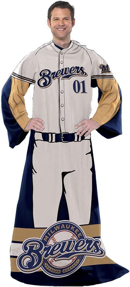 Amazon Com Northwest Milwaukee Mlb Baseball Brewers Full Player Comfy Throw Snuggie Blanket Sports Outdoors