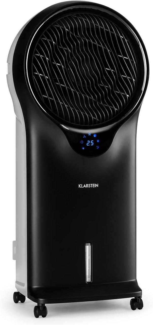 KLARSTEIN Whirlwind Shape Edition - Refrescante evaporativo, Ventilador, Humidificador, Enfriador de Aire, 3 Niveles, 3 Modos, Tanque 5,5L, Rendimiento 90W, Lamas giratorias 360º, Timer, Negro