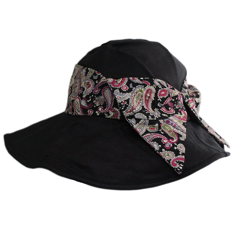 Women Summer Beach Floral Bowknot Sun UV Protect Wide Brim Folding Hat Visor Cap