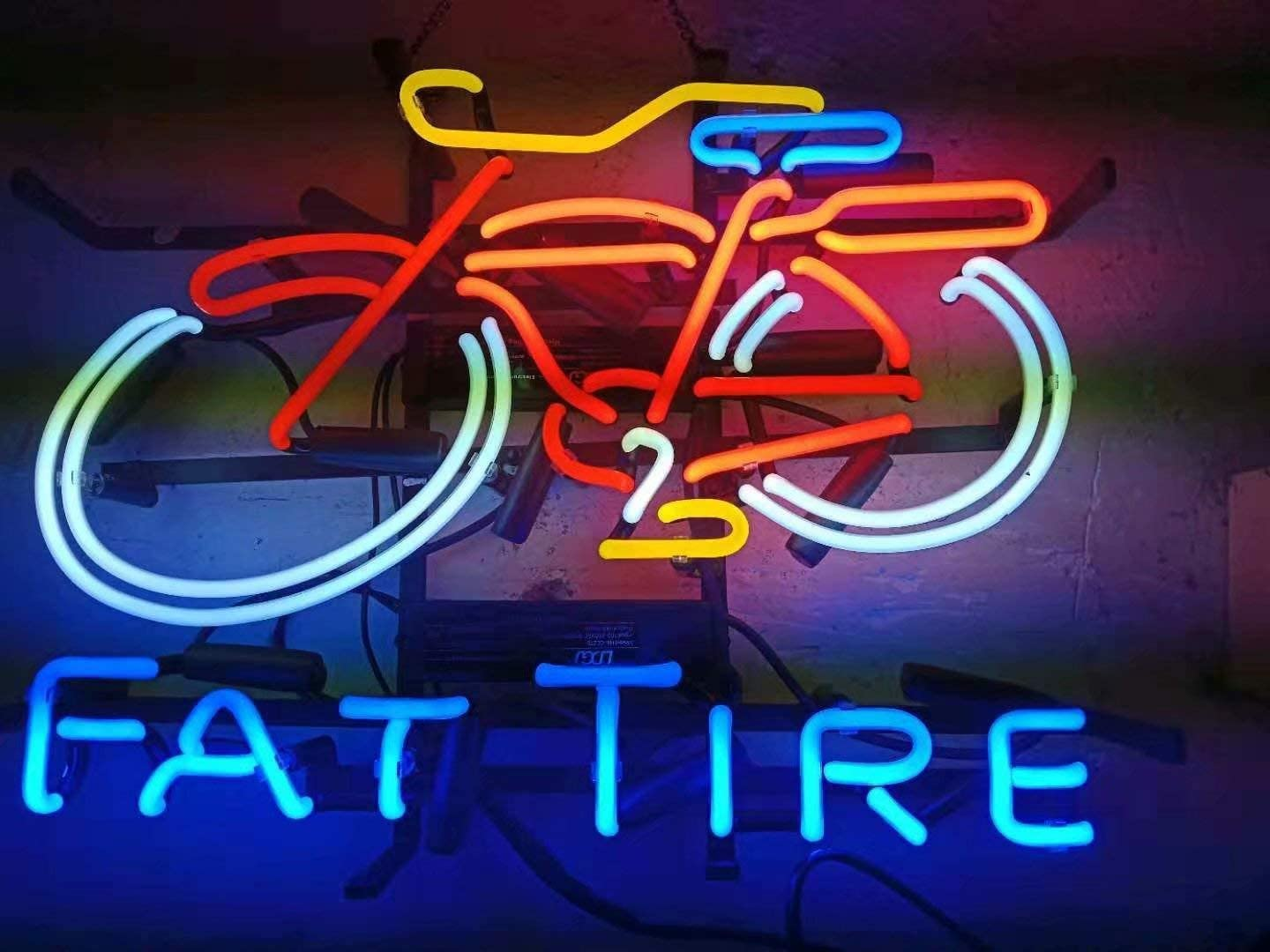 LDGJ Neon Signs for Wall Decor Handmade Sign Home Fat Tire Custom Beer Bar Pub Recreation Room Lights Windows Glass Party