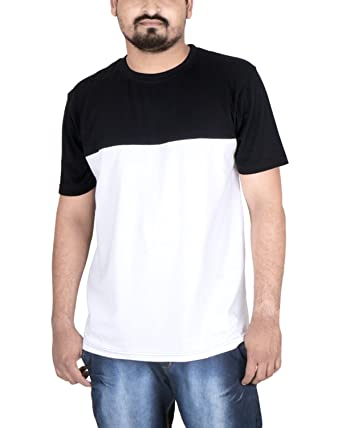 FABIOUS Half Sleeve Round Neck Stylish Men's Cotton T-Shirt in Solid Black & White Color