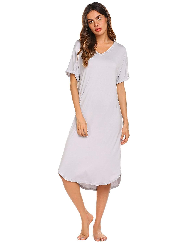 Ekouaer Women s V Neck Casual Sleepwear Short Sleeve Pajamas Loose  Nightgowns S-XXL at Amazon Women s Clothing store  c29d9f515