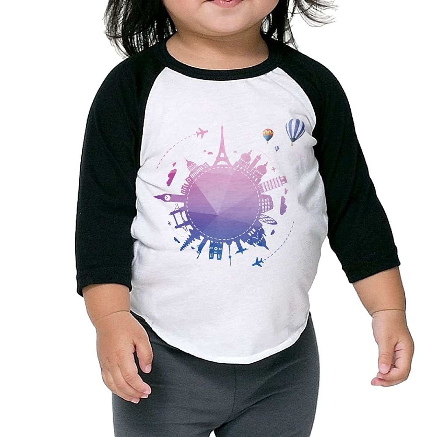 New CHENLY Unisex Kid's Sleeves Soft Round City Cotton 3/4 Sleeves T-Shirt For Kids