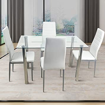 Amazon Com 110cm Dining Table Set 5pcs Modern White Tempered Glass Dining Set With 4pcs Pvc Leather Chairs Transparent Creamy White White Table Chair Sets