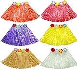 MarJunSep 6 Pack Kid's Elastic Hawaiian Luau Hula Dancer Grass Skirts(40CM)