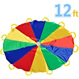 Parachute 12 Foot for Kids with 12 Handles Play Parachute for 8 12 Kids Tent Cooperative Games Birthday Gift