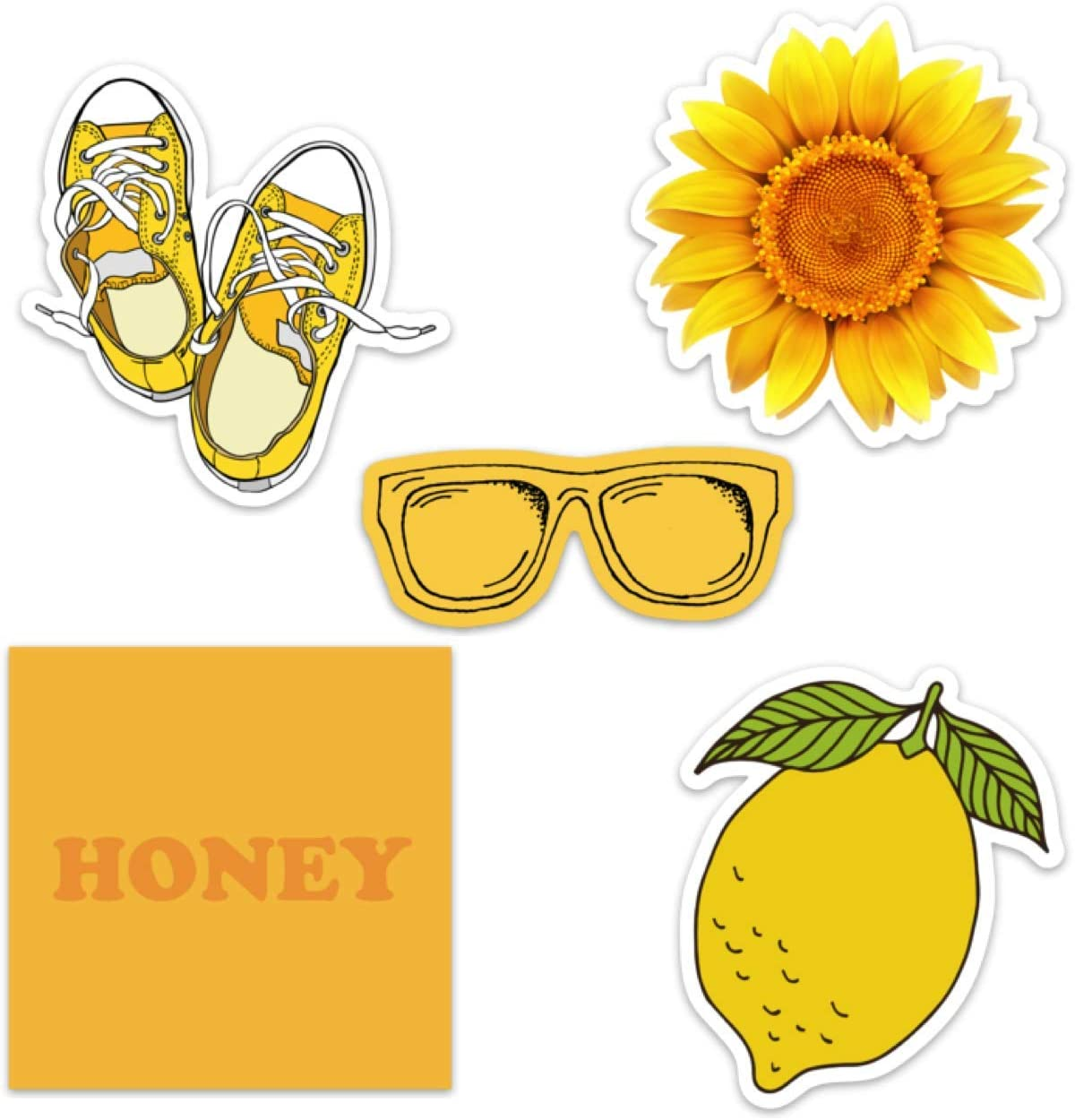 Cute Yellow Aesthetic Vinyl Laptop and Water Bottle Decal Sticker Pack for Girls, Made in US