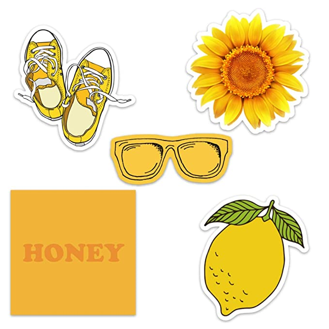 Cute Yellow Vinyl Laptop and Water Bottle Decal Sticker Pack for Girls, Made in US best decorative laptop stickers