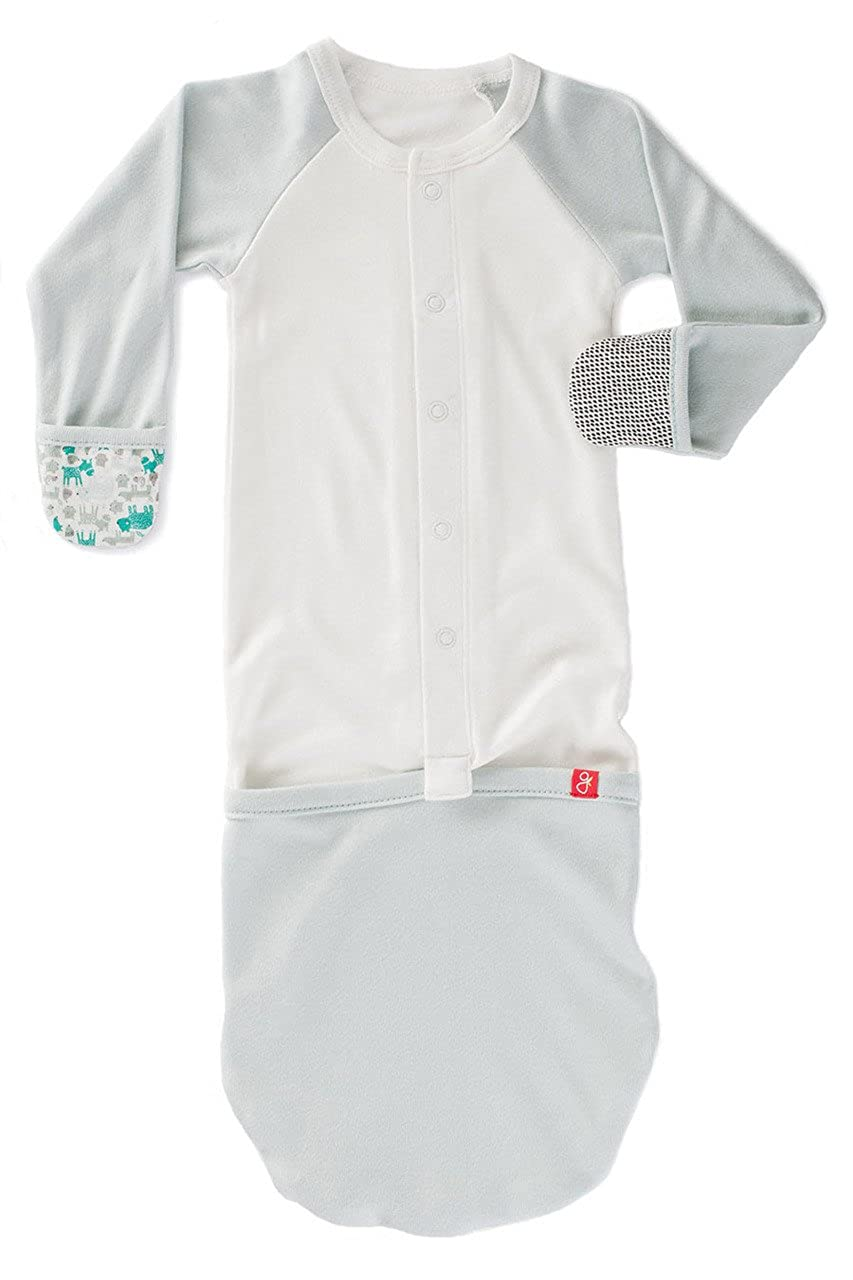 Goumikids Goumijamms Organic Smart Baby Gown, With No Scratch Mitts and Foot Pockets With Easy Diaper Change 701