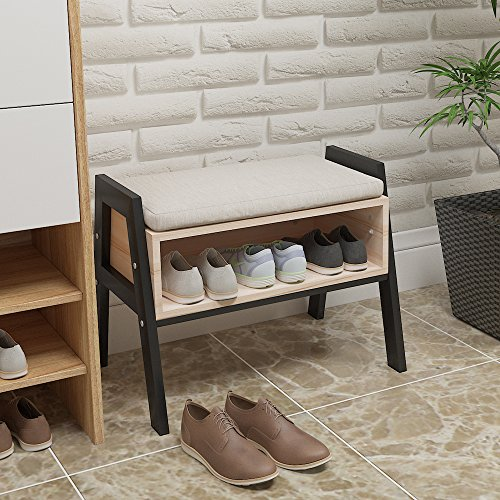 Ansley&Hosho Stackable Wood Shoes Rack Shoes Storage Cabinet Changing Shoe Stool Bench for Hallway Entryway Door Shoes Holder Organizer Used as Utility Rack Storage Shelve Bookshelf with Free Cushion by Ansley&HosHo