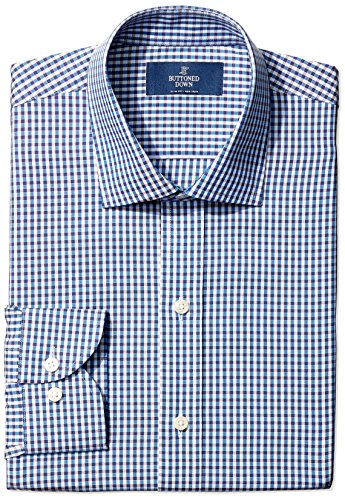 Buttoned Down Men's Slim Fit Spread-Collar Small Check Non-Iron Dress Shirt, Blue/Brown, 15.5 35 Check Pattern Mens Dress Shirt