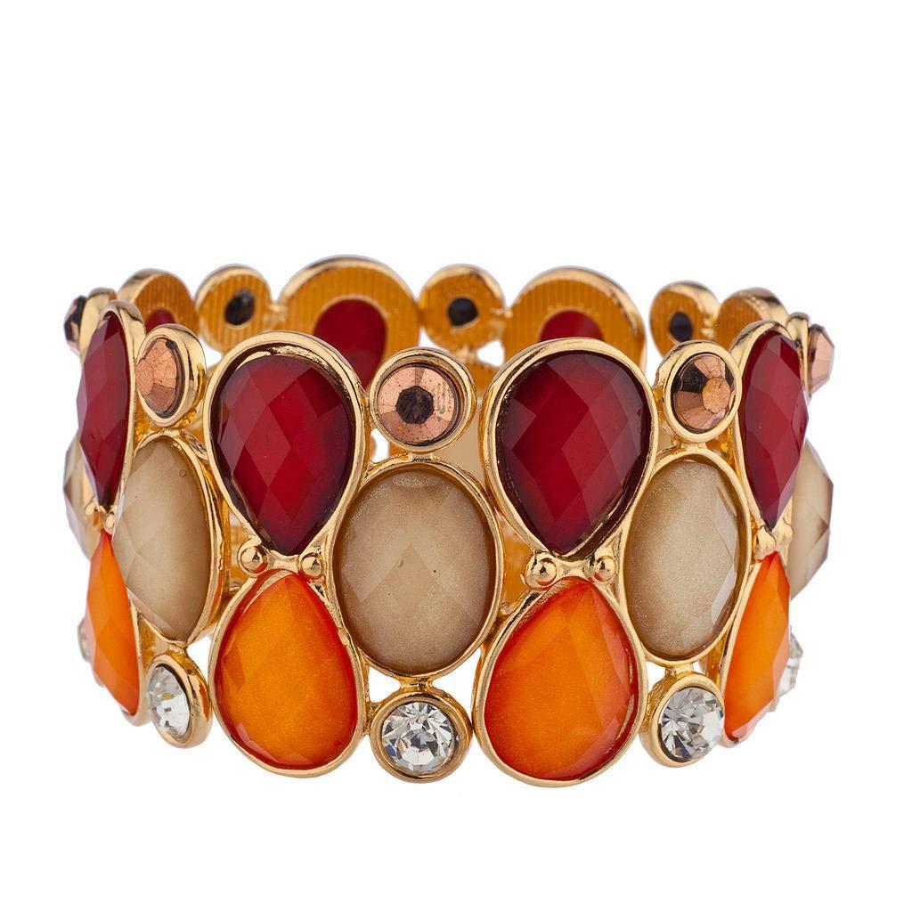 Lux Accessories Crystal Teardrop Shimmer Stone Stretch Bracelet B251818-8-B1031