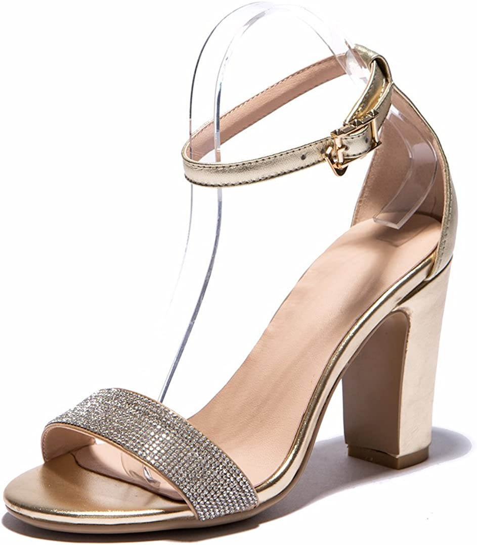 4, Gold KSJYWQ Womens 9 cm Chunky Heels Summer Style Leather Sandals