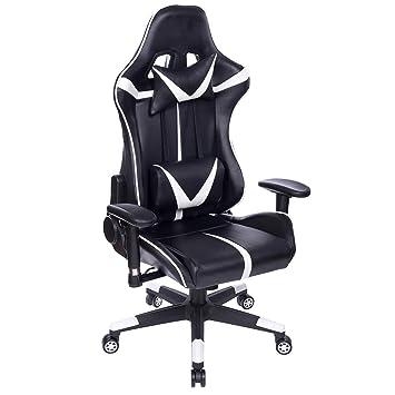 Avec Similicuir Gaming Fonction Hauteur blanc Noir En Racing Pivotant Chaise chaise De Woltu® D'inclinaisonBureau Réglable Bs13ws hQrstdC