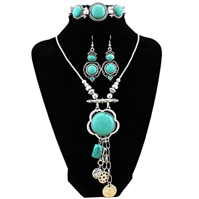 Amazon xy fancy retro craft vintage look antique silver plated xy fancy retro craft vintage look antique silver plated snail pendant necklace bracelet earrings real turquoise aloadofball Choice Image