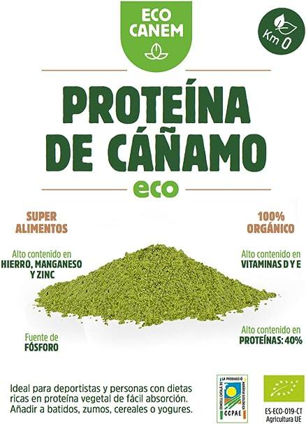 Proteína de cáñamo ecológica - 40% de proteína vegetal - 100% Vegano - Proteína Raw - Sin Glutén - 200 g