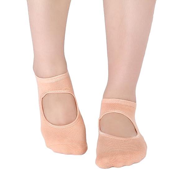 Vococal Yoga Calcetines Mujeres, Mujeres Yoga Pilates Calcetines Bajo Corte Antideslizante Calcetines de Agarre para