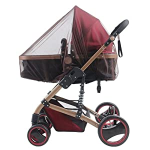 "Baby Stroller Mosquito Bug Net Insect Netting Cover 59"" Large Size for Pram, Buggy, Infant Carriers, Car Seats, Cradles, Cribs, Bassinets, Playpens, Baby Stroller Bed Full Mesh Cover (Coffee)"