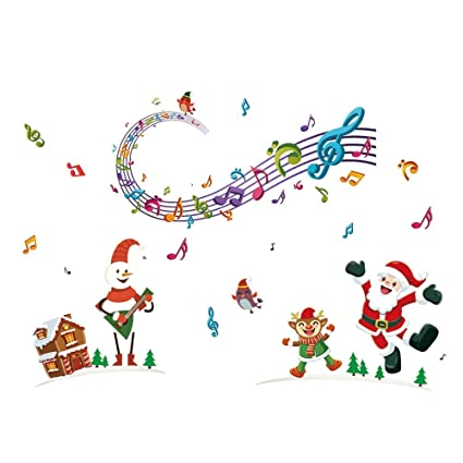 Christmas Music Notes.Amazon Com Jarsh Wall Decals Wall Stickers Christmas Music