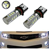 iJDMTOY (2) Super Bright Xenon White 15-SMD P13W PSX26W High Power LED Replacement Bulbs For 2010-2013 Chevy Camaro, 2013-up Mazda CX-5, 2008-2012 Audi A4/S4/Q5 Daytime Running Lights, etc